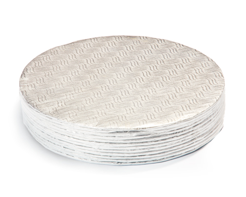 10'' Round Silver Cake Board 1/8 Pqt 12