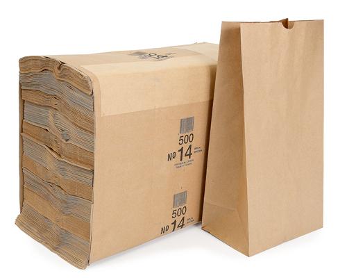 Brown Grocery Bags 14 Lb Box 500