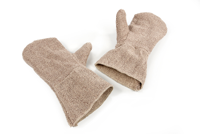 Pair Of Short Brown Oven Mitts
