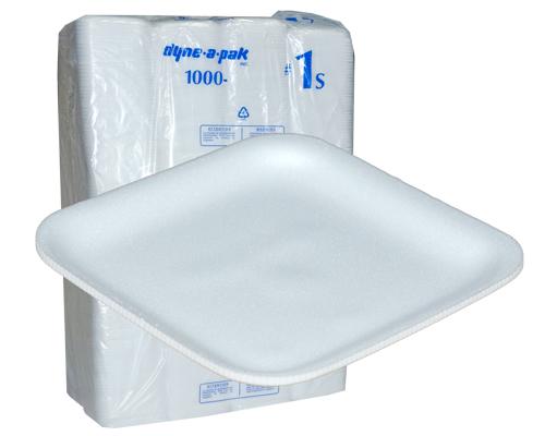 White Mousse Foam Tray 1S 5 1/4 X 5 1/4 /1000
